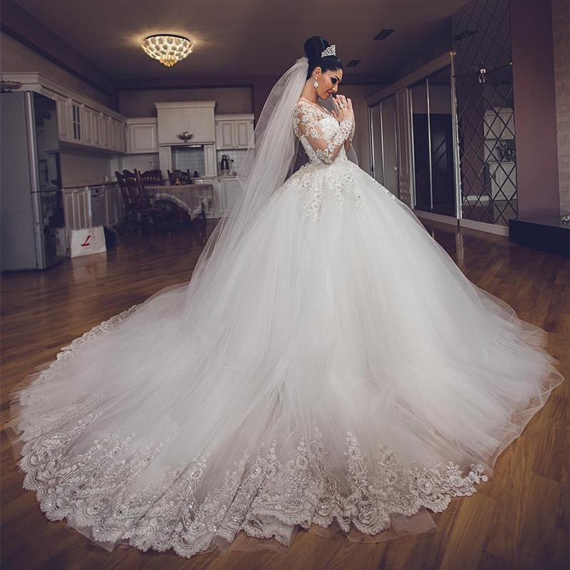 long flare wedding dress min
